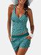 女性ポルカドットプリントワイドストラップショーツタンキニ水着 - 緑