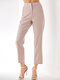 Pink Striped Print Pocket Long Casual Pants for Women - Pink