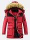 Mens Winter Thicken Multi-Pocket Zipper Fur Hooded Warm Down Coat - Red