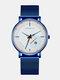 Alloy Steel Business Casual Mesh Belt Calendar Mens Quartz Watch - White+Blue