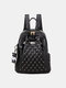 Casual Soft Fabric Large Capacity Lightweight Rivet Decor Backpack With Cartoon Pendant - Black