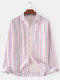 Mens Cotton Vertical Stripes Print Brief Style Daily Long Sleeve Shirts - Pink