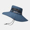 Mens Bucket Hat Outdoor Fishing Hat Climbing Mesh Breathable Sunshade Cap Oversized Brim With String - Navy
