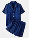 Plus Size Women Faux Silk Pajamas Set Solid Smooth Breathable Lapel Collar Loungewear With Short Sleeve Top - Navy