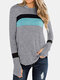 Casual Patchwork Long Sleeve Plus Size Hoodie For Women - Grey