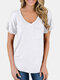 Solid Color Short Sleeve V-neck Plus Size T-shirt with Pocket - White