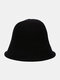 Women Woolen Cloth Solid Color Knitted Casual Warmth Bucket Hat - Black