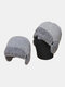 Men Dual-use Detachable Mask Plus Thick Warm Windproof Face Ear Protection Headgear Knitted Hat For Riding - Gray