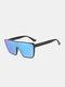 Unisex PC Full Square Frame One-piece Goggles UV Protection Oversized Fashion Sunglasses - Black 1