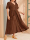 Casual Solid Color Short Sleeve V-neck Plus Size Button Dress - Brown