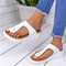 Large Size Women Casual Solid Color Clip Toe Wedges Slippers - White