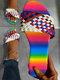 Große Größe Damen Colorful Ombre Woven Flat Slide Hausschuhe - rot