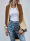 Dolman Long Sleeve Loose Contrast Color Cardigan for Women - Apricot