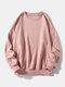 メンズコットンソリッドカラーカジュアルルーズシンプルラウンドネックスウェットシャツ - ピンク