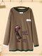 Cartoon Embroidery Crew Neck Plus Size Pullover Cotton Sweatshirt - Brown