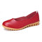 Women Casual Soft Leather Solid Color Ballet Flat Shoes - Red