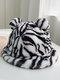 Women Faux Rabbit Fur Warm Soft Cute Casual All-match Animal Ear Pattern Bucket Hat - #03