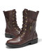 Women Large Size Solid Color Side Zipper Lace Up Mid-Calf Boots - Brown
