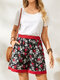 Floral Print Elastic Knotted Waist Pocket Casual Shorts for Women - Black