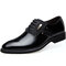 Men Stylish Leather Splicing Lace Up Business Formal Dress Shoes - Black
