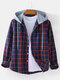 Mens Check Button Up Long Sleeve Casual Plain Drawstring Hooded Shirts - Red