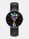 Mens Cartoon Astronaut Colorful Planet Print Quartz Watch - Black