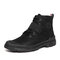 Men Cool Stitching Microfiber Leather Comfy Non Slip Sport Tooling Boots - Black
