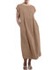 Solid Color Short Sleeve Plus Size Casual Dress - Brown