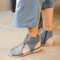Women Hollow Out Comfy Retro Size Zipper Casual Flat Sandals - Gray