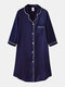Plus Size Women Ice Silk Chest Pocket 3/4 Sleeve Shirt Cozy Nightdress With Contrast Binding - Blue