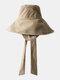 Unisex Cotton Wide Brim Adjustable Tie Outdoor Travel Sunshade Bucket Hat - Khaki