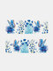 Green Plant Flower Butterfly Pattern Nail Sticker Painting Style Watermark Nail Sticker - #05