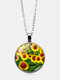 Vintage Landscape Printed Women Necklace Sunflower Pendant Clavicle Chain - Silver