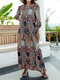 Ethnic Floral Plaid Print 3/4 Sleeve Vintage Maxi Dress For Women - Yellow