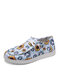 Plus Size Women Casual Floral Pattern Drawstring Breathable Comfy Flats - White