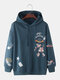 Mens Cartoon Planet Print Cotton Loose Casual Elastic Hem Pullover Hoodies - Blue