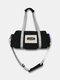 Vintage Nylon Letter Front Large Capacity  Handbag Crossbody Bag - Black
