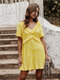 Ruffled Print Short Sleeves V-neck Causal Jumpsuit For Women - Yellow