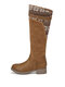 Women Casual Warm Flowers Letter Pattern Mid-Calf Boots - Brown