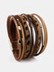 Ethnic Multilayer Leopard Women Bracelet Handmade Wide Magnetic Buckle Leather Bracelet - Coffee