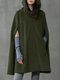 Solid Color Button Long Sleeve Casual Cape Coat for Women - Army green