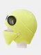 Men & Women Plus Velvet Thick Warm Neck Face Ear Protection Headgear Knitted Hat Mask Pilot Glasses - Yellow