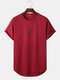 Mens Rose Floral Print High Low Sport Short Sleeve T-Shirts - Wine Red