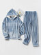 Women Flannel Letter Embroidery Patchwork Thicken Hoodie Warm Home Pajama Set - Blue