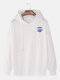 Mens Planet Letter Printed Cotton Drop Shoulder Casual Drawstring Hoodies - White