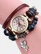 Multilayer Vintage Women Watch Decorated Pointer Four Leaf Clover Pendant Beaded Quartz Watch - #02