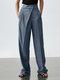 Solid Color Plain Asymmetrical Pocket Long Casual Pants for Women - Blue