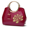 Fashion New Embroidery Flower Bright Patent Leather Shell Ladies Handbag  - Red & Rose