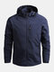 Mens Waterproof Windproof Quick Dry Loose Fit Outdoor Sport Hooded Jackets - Blue