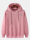 Mens Reflective Smile Face Print Cotton Casual Drawstring Pullover Hoodies - Pink